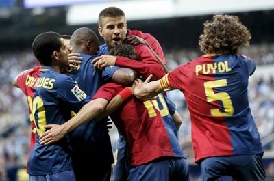 barcelona madrid team goal celebration