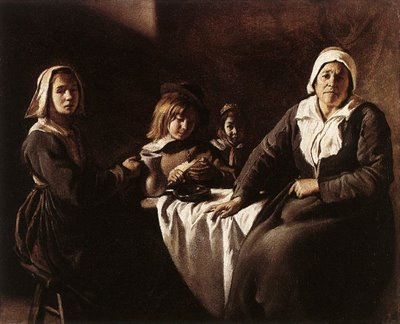 Le Nain Four Figures at Table 1630s