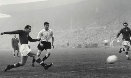 Nandor Hidegkuti scores Hungary's final goal in their 6-3 win against England at Wembley in 1953